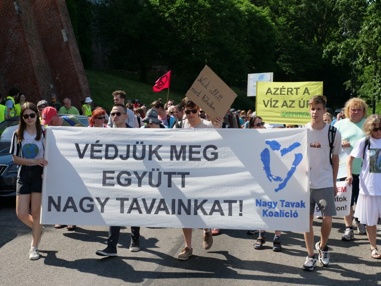 A kánikula sem állította meg a Fertő tavi beruházások elleni tüntetőket