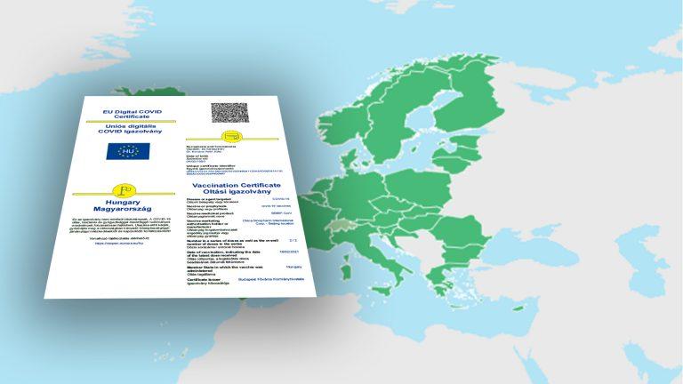 Online is elérhető az EU-s oltási igazolás